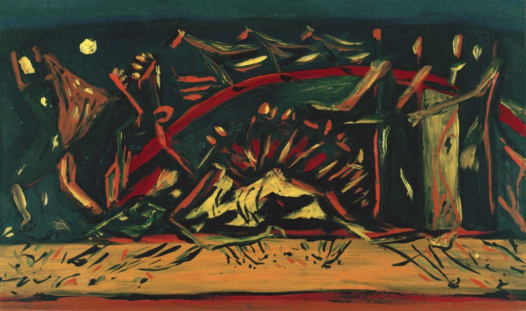 Jackson Pollock, Untitled (Composition with Red Arc and Horses), ca. 1938. Oil on board, 12 x 20 1/2 in. Pollock-Krasner House and Study Center. Gift of Mrs. Gerard Weinstock